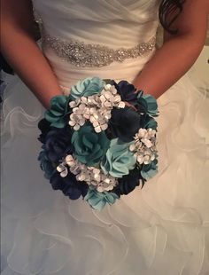paper rose and hydrangeas  bridal bouquet paper by 2CLVRDesigns