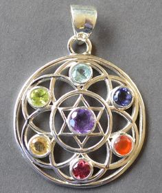 Flower Of Life Silver Chakra Pendant