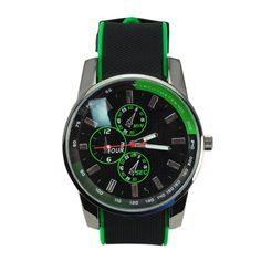 Silicone Band Quartz Movement Round Metal Dial Wrist Watch Black + Green Silicone Band Quartz Movement Round Metal Dial Wrist Watch Black + Green [51212] - US$5.97 : Aladdinmart