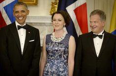 Yhdysvaltojen presidentti Barack Obama, Jenni Haukio ja tasavallan presidentti Sauli Niinistö.