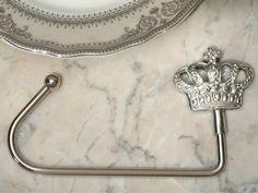 Silver Royal Crown Handbag Holder (Cassiani Collection KCM766)   Buy at Wedding Favors Unlimited (http://www.weddingfavorsunlimited.com/silver_royal_crown_handbag_holder.html).