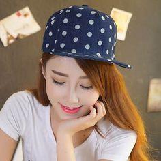 Casual polka dot baseball cap for girls denim snapback caps