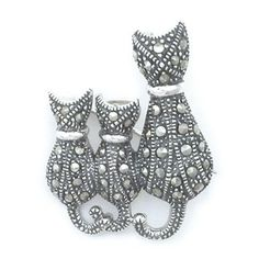 Buy Sterling Silver Black and White Cat Brooch / 925 Jewellery ...