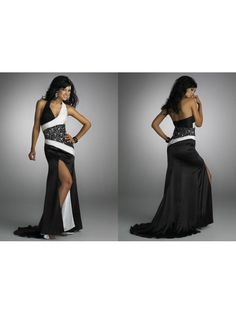 Sexy Sheath / Column V-neck Black White Long Evening / Prom / Formal / Party Dresses 99901009