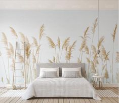 Fresh Handpainted Simple Reed Wallpaper, Autumn Yellow Reed Wall Mural, Living Room or Dinning Room Wallpaper Home Decor - falfestés Dinning Room Wallpaper, Home Wallpaper, Wallpaper Paste, Wallpaper Wallpapers, Wallpaper Doodle, Camera Wallpaper, Vintage Wallpapers, Painting Wallpaper, Trendy Wallpaper
