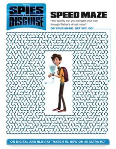 You or your child can test puzzle solving skills, when you do this fun and challenging Spies in Disguise maze activity page. Printable Mazes, Printable Coloring Pages, Free Printables, Summer Fun List, Summer Kids, Indoor Activities For Kids, Summer Activities, Family Activities, Outdoor Activities