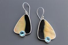 Black Lip Oyster Shell with Blue Topaz in Sterling Silver Earrings.