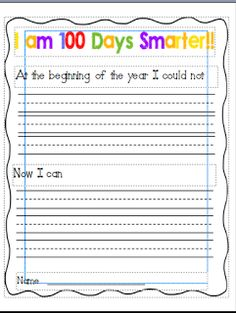 Wild About Teaching: 100 Day Writing (Freebie)!!! Maybe tweak it for older