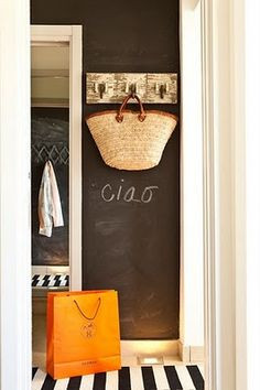chalkboard paint-hallway or laundry room