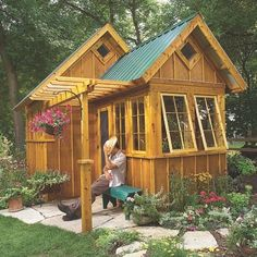 Cute garden shed or guest cabin - download plans http://www.theclassicarchives.com/shedplans/ultimate-garden-shed-plans
