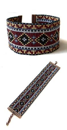 Colorful beadwoven bracelet ethnic style beadwork by Anabel27shop #beadwork #beading #jewelry #bracelet #loom #beadweaving