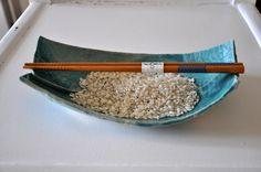 Ciotola paper clay e smalto turchese
