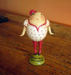 Primitive Folk Art Egg Girl Valentine for a Special Friend