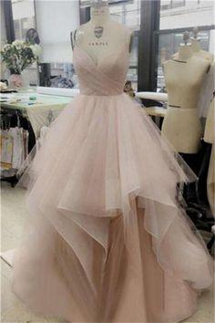 Beauty Princess Spaghetti Straps Long A-line Pink Tulle Prom Dresses Z0483