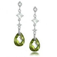 Bling Jewelry Sterling Silver Faceted Olive Green Teardrop CZ Earrings