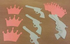 10 set Guns or Glitter Party Decor Die Cuts Pink Glitter Crowns and Blue Guns Gender Reveal party or baby shower Decor