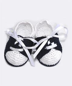 Another great find on #zulily! Navy & White Crochet Booties #zulilyfinds