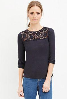 Blusa panel de crochet floral   Forever 21 - 2000146781
