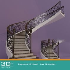 nice 58. Staircase 3D model free download Download here: https://3dmili.com/decoration/staircase/58-staircase-3d-model-free-download.html