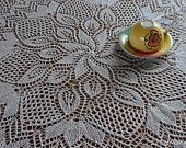 """Hand Knitted Lace Cotton tablecloth """"Mimi"""", 43 inches in diameter (110 cm), Free Shipping"""