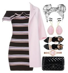 """""""Pink Ruffle Top Dress"""" by egordon2 ❤ liked on Polyvore featuring MSGM, Chanel, Paul Smith, Ice and Emporio Armani"""