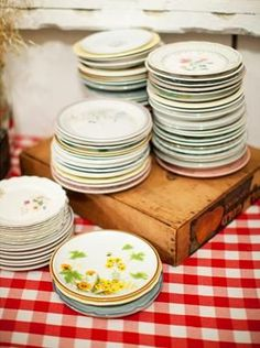 mismatched thrift store plates
