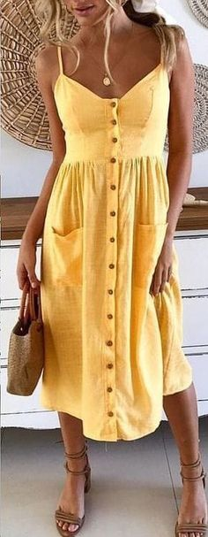 #summer #outfits / yellow button up dress