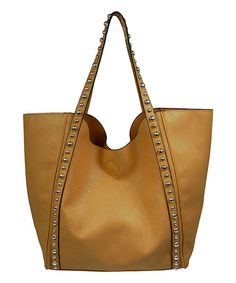 Another great find on #zulily! Cognac Studded-Strap Tote #zulilyfinds