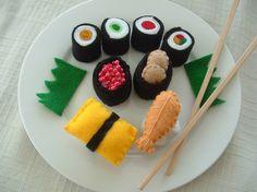 Felt Food  Blue Mini Box of Sushi by lisajhoney on Etsy, $22.00
