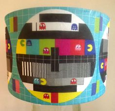 Retro Gaming Lamp shade TV test card retro funky Pacman multi coloured Free Gift in Home, Furniture & DIY, Lighting, Lampshades & Lightshades | eBay