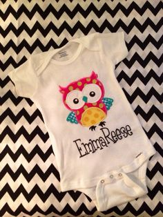 Baby girl Owl Appliqué onesie. Monogrammed embroidered personalized  on Etsy, $18.00