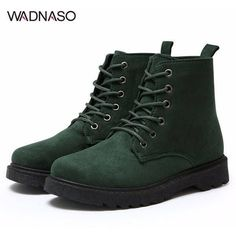 WADNASO Ankle Lace Up Flat Martin Boots ($13) ❤ liked on Polyvore featuring shoes, boots, lace up shoes, mid-heel shoes, flat slip on shoes, flat shoes and laced up boots
