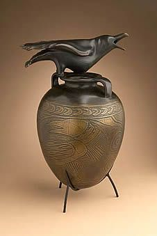 Crows Ravens: Raven jar with incised design. Glass and bronze, by William Morris. Crow Art, Raven Art, Bird Art, Ceramic Pottery, Pottery Art, Ceramic Art, Art Nouveau, William Morris Art, Crows Ravens