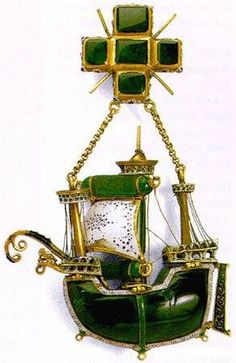 Caravel pendant, Spain, late 16th century:  emeralds, gold, enamel (Hermitage Museum)