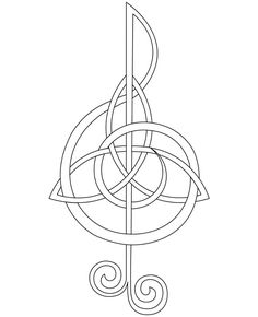 My thought was to include a small colored circle within one of the knots to represent Evan's birth month. We are Scottish, hence the celtic knot idea, and the treble clef should go without saying. What do you guys think of this as a possible tattoo?