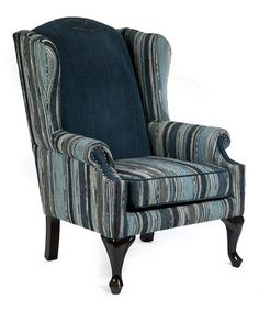 Loving this Denim Stripe Wing Chair on #zulily! #zulilyfinds