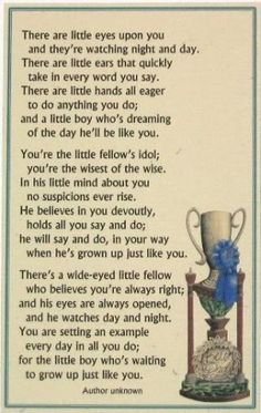 Father's Day poem - but applies to all the adults in a child's life and what an impact they can have either positive or negative.