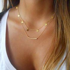 Metal encanto ronda cadena collar lindo moda mujer cadena de oro gargantilla collar de moda collar de la joyería 3870