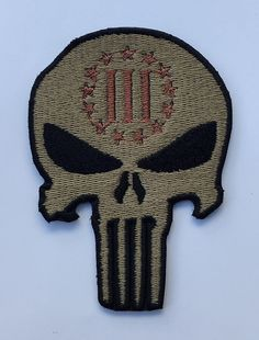 Three Percenter Punisher Skull American Tactical Chest Embroidered Iron on / Sew on Patches Logo Badge Emblem