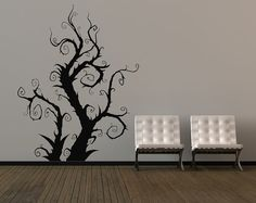 Whimsical Burtonesque Tree - Vinyl Wall Art Decal via Etsy. My New Room, My Room, Vinyl Wall Art, Wall Decals, Wall Sticker, Arabesque, Tim Burton Style, Goth Home, Little Shop Of Horrors