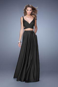 2015 Black Two Piece La Femme 21178 V-Neck Long Prom Dresses Cheap