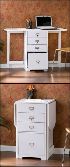 "Pinspiration for turning my red ""filing"" craft cabinets into a space saving fold out craft table! Whether you need organization in the craft room, home office, or bedroom this folding organizer desk is a great space saving Space Saving Desk, Space Saving Furniture, Desk Space, Space Saver, Ikea Furniture, Bedroom Furniture, Furniture Ideas, Furniture Design, Small Office Organization"
