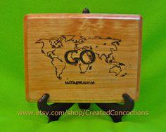 Great Commission Wood Burned Sign, Matthew 28:17-20, World Map