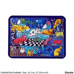 Colorful Cat Cocktail - Cat Art Rectangular Photo Magnet by Dora Hathazi Mendes Cat, cats, cat art, Whimsical, quirky, cute, colorful, tabby, ginger, Siamese, white, black, gatos, kitty, kitten, flowers, wings, kids, fantasy, funny, painting, art, watercolor, beautiful, sweet, kittens, artwork, cool, purring, meow, pet, pets, playful, bright, for kids, magnet, homedecor, fridge, catlover, #dorahathazi