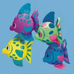 Inflatable Mini Fish : Decorate your tropical-themed party or luau beach party bash with this school of cute mini inflatable fish! Decorate tables, centrepiece bowls, and more with these brightly-coloured swimmers! These friendly fish will float in your pool for hours of fun!  Great as a gift for goody bags.  17.8cm   Price is per fish; assorted designs; vinyl