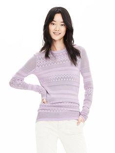 Pointelle-Stripe Pullover Sweater