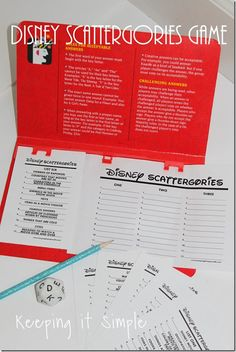 Disney Party Game- Disney Scattergories Printable Game for a party or game night- Disney version of Scattergories complete with printables Keeping it Simple Disney Party Games, Disney Activities, Disney Games For Kids, Game Party, Disney Themed Games, Disney Crafts For Kids, Road Trip Activities, Sleepover Party, Disney Bachelorette