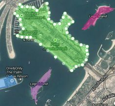 """Dubai man made luxury """"palm jumeira"""" man island's trunk area marked for measurement of area using Online Fast Area Calculator, Calculates area Instantly after marking Calculate Area, Dubai Resorts, Resort Logo, Satellite Maps, One And Only, Calculator, Palm, Island, Luxury"""