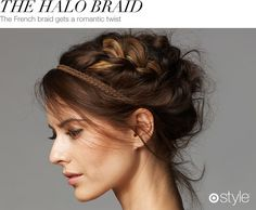 Beauty Corner: The Halo Braid  Get this gorgeous crown by creating a loose French braid on the side of your head and wrapping them into a bun at the base of your neck.  Hold with hairspray and tease for a softer look.