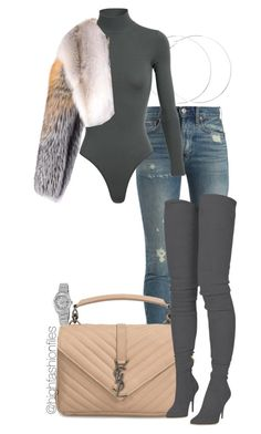 """Untitled #2778"" by highfashionfiles ❤ liked on Polyvore featuring Rolex, RE/DONE, Alaïa, Givenchy, Yves Saint Laurent and Balmain"